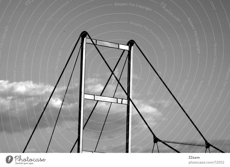 Sky Clouds Above Line Bridge Net Steel Geometry Scaffold