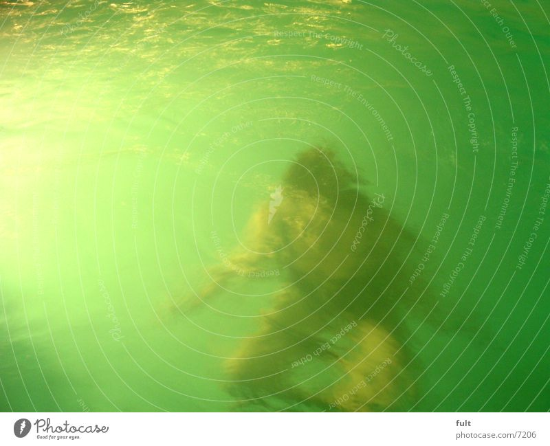 Human being Woman Water Movement Waves Swimming & Bathing Leisure and hobbies Wet Dive Underwater photo Crouching