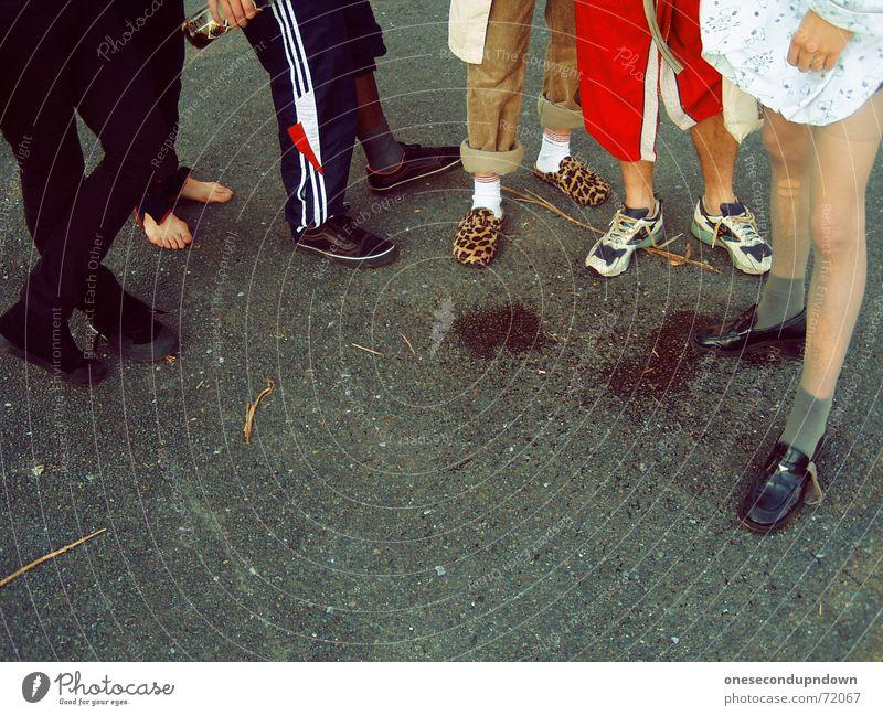 Legs Concrete Multiple Stand Asphalt Stockings Tights Patch Freak Tramp Barefoot Rock'n'Roll Antisocial Shuffle Bathrobe