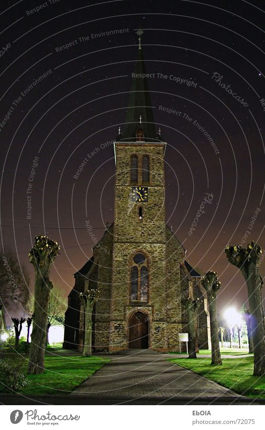 Church at night Night Long exposure Stars Dark Religion and faith church Gothic period black dark. church tower Architecture