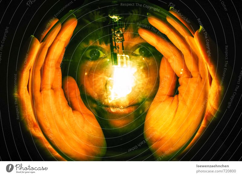 In the light of the observer Feminine Young woman Youth (Young adults) Adults Head Hand 1 Human being 18 - 30 years Glass Observe Discover To hold on Illuminate