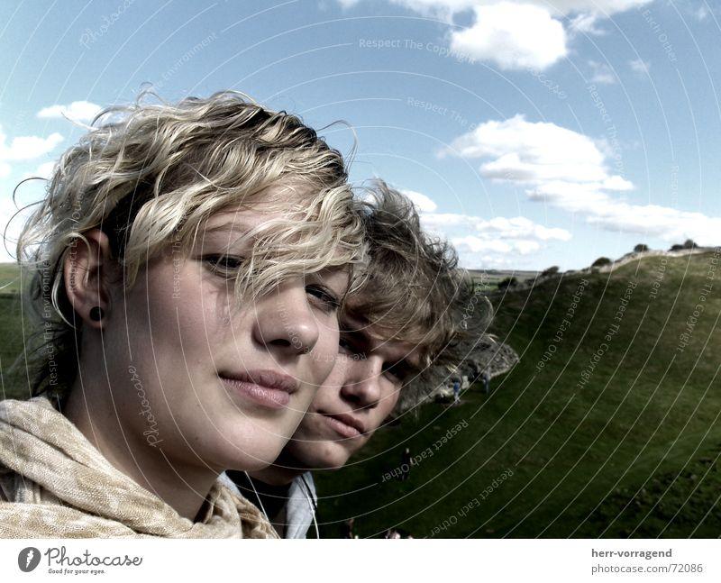 Relax Clouds Meadow Scotland Wall (barrier) Green Woman Man Blonde Earnest Flexible Sky Blue hadrians wall Couple