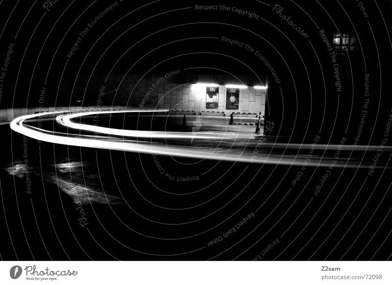 downward b/w Light Stripe Downward Under Long exposure Underground garage Transport Driving Hut Arch Circle Movement Dynamics Street Curve