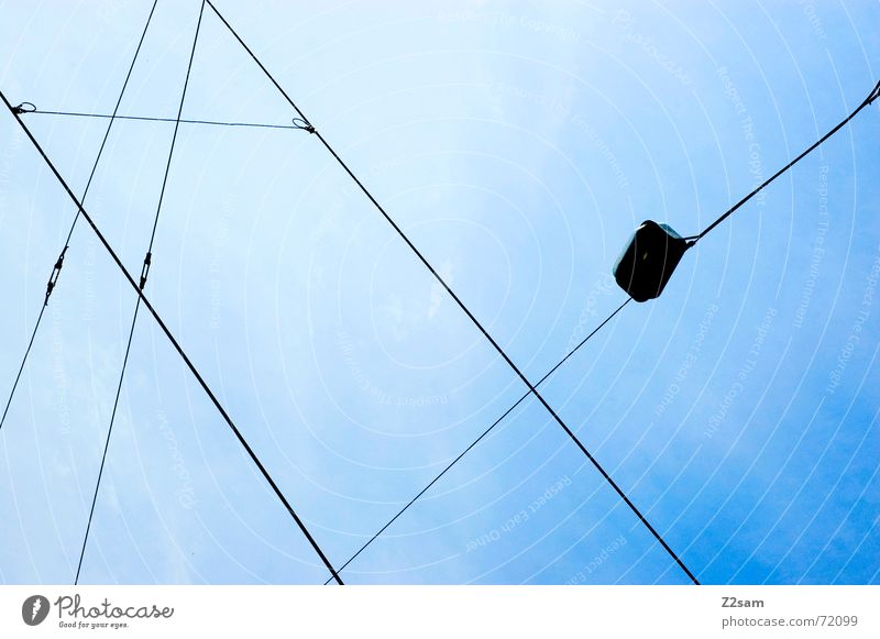 Sky Blue Summer Lamp Line Rope Net Direction Transmission lines Tram Overhead line Compass point