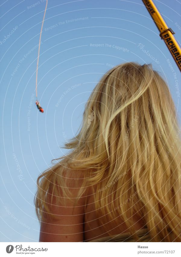 Woman Sky Blue Joy Relaxation Hair and hairstyles Blonde Speed To fall Observe Hang Crane Long-haired Headache