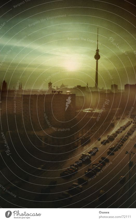 Sky Sun Clouds Street Berlin Car Rain Asphalt GDR Parking lot Berlin TV Tower Prefab construction Alexanderplatz Main street Karl-Marx-Allee