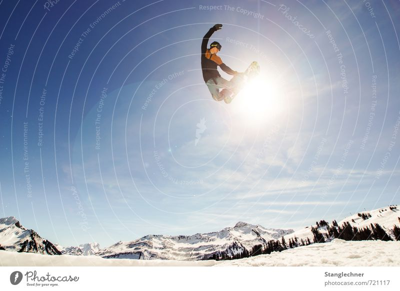 Human being Sky Blue White Sun Landscape Winter Mountain Movement Sports Lifestyle Flying Jump Masculine Esthetic Tall