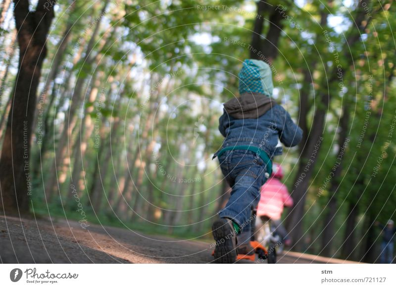 Human being Child Nature Tree Joy Forest Life Movement Boy (child) Lanes & trails Sports Playing Friendship Park Leisure and hobbies Together