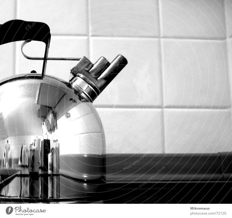 tea kettle Boiler Tea Carry handle Door handle Whistle Triad Kitchen Black & white photo Stove & Oven Water Drinking water Cooking Hot Coffee Tile Thirst