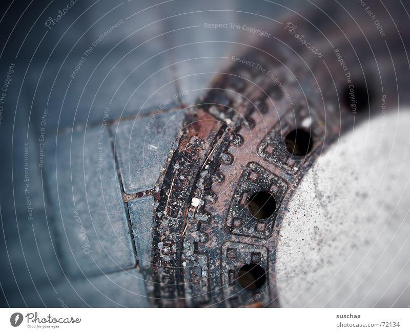 Street Stone Dirty Asphalt Hollow Gully Drainage Alley Curbstone