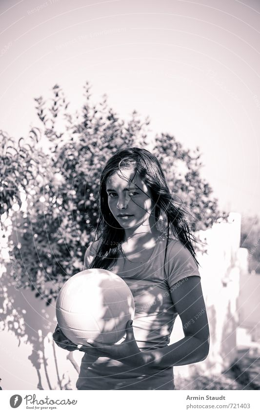 In the shade with ball Lifestyle Leisure and hobbies Playing Vacation & Travel Summer vacation Human being Feminine Youth (Young adults) 1 13 - 18 years Child