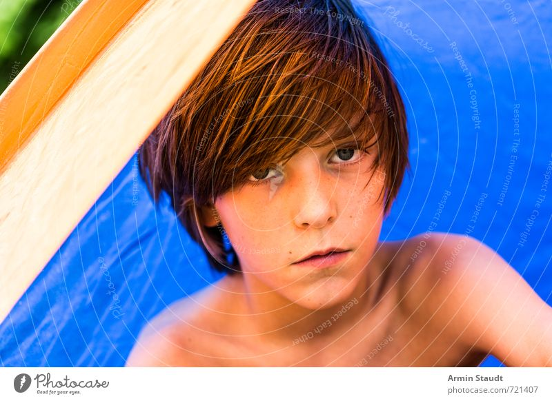 Portrait in a tent Leisure and hobbies Camping Vacation & Travel Summer Summer vacation Human being Masculine Youth (Young adults) 1 8 - 13 years Child Infancy