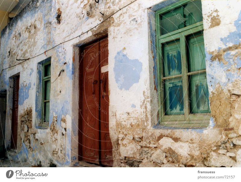 House (Residential Structure) Window Stone Door Facade Decline Ruin Shabby Plaster Greece Set Harmful