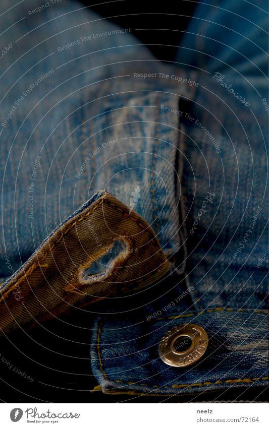 Blue Jeans Open Pants Cloth Buttons Buttonhole Pants zipper