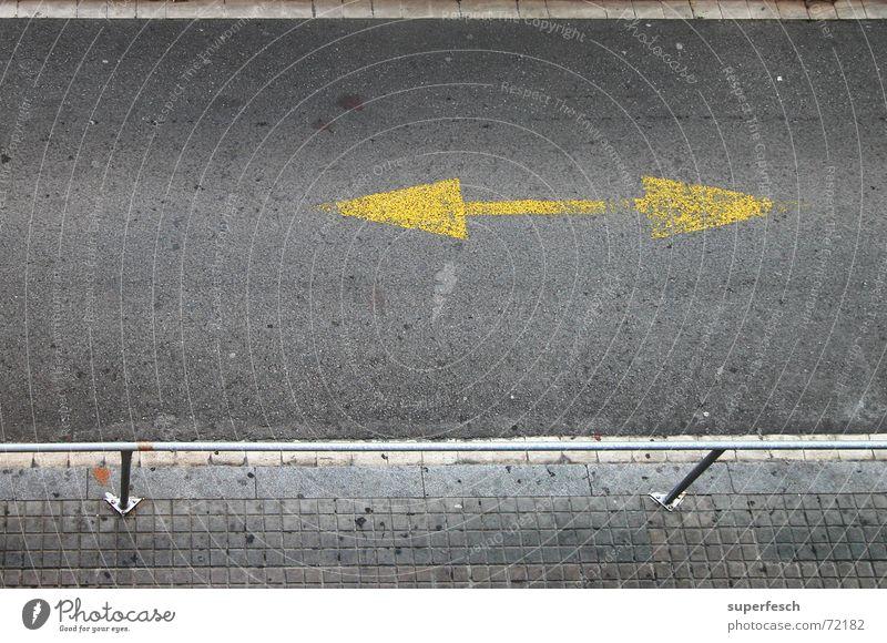 BCN 2 Transport Street Lanes & trails Arrow Driving Mobility Traffic lane Direction Asphalt double arrow Colour photo Exterior shot Deserted Day Downward