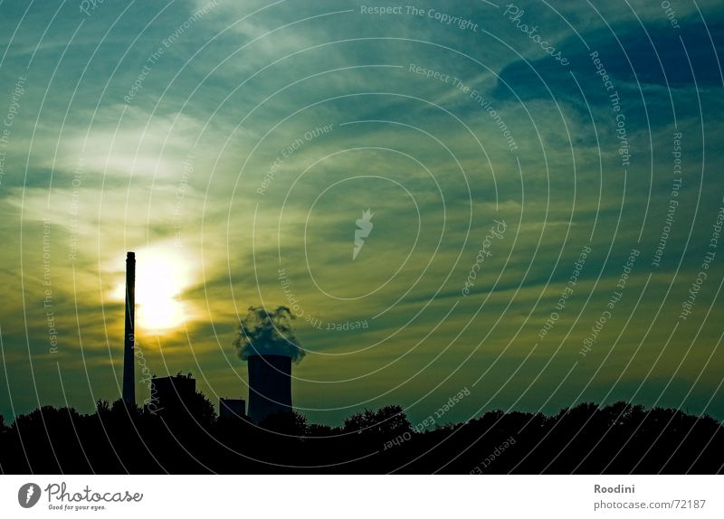 Sky Sun Clouds Energy industry Electricity Industrial Photography Factory Solar Power Chimney Dusk Environmental protection Electricity generating station