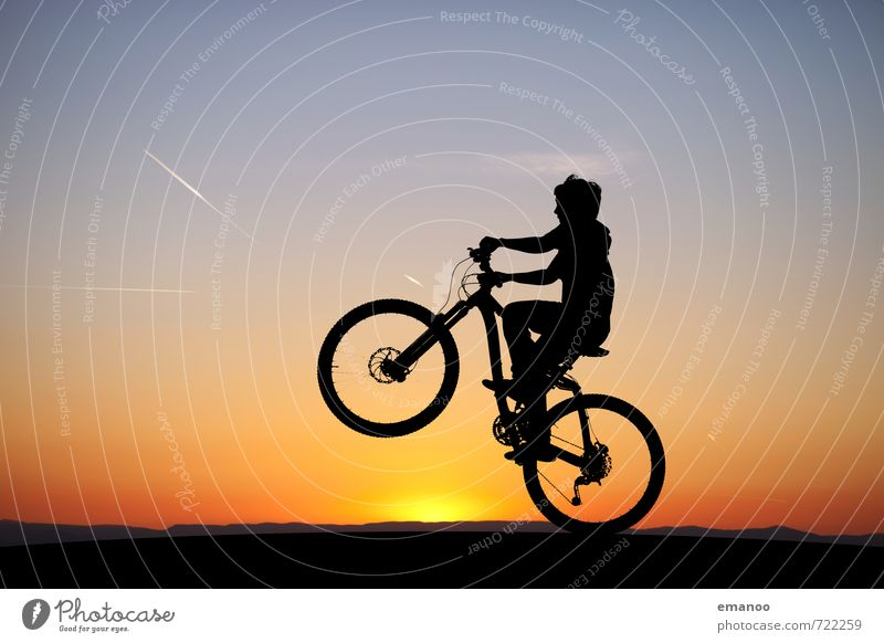 wheelie Lifestyle Joy Summer Sports Sportsperson Cycling Bicycle Human being Child Boy (child) Young man Youth (Young adults) Nature Landscape Sky Horizon Sun