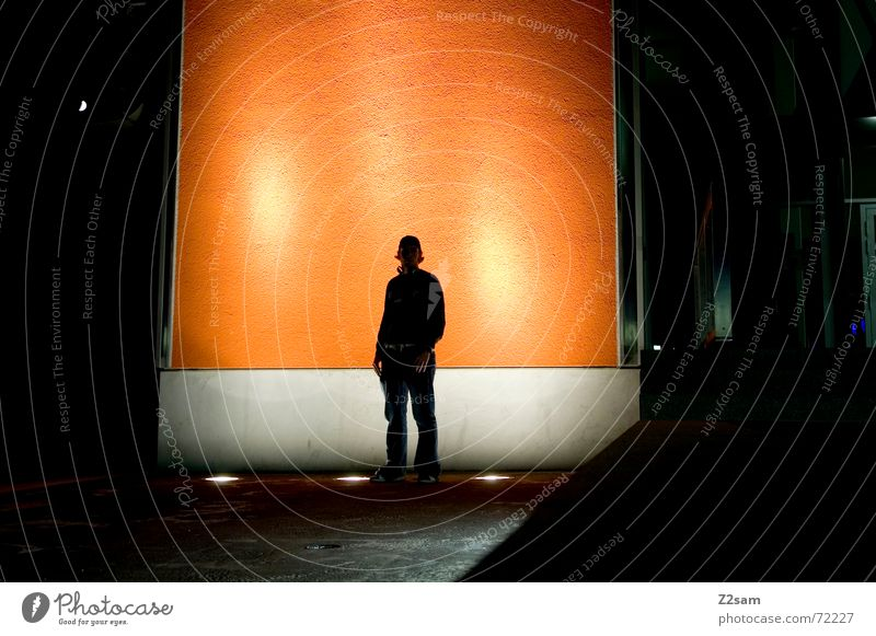 nightly contemplation III Stand Night Light Stage lighting Posture Think Wall (building) Orange portraits ponder Lean