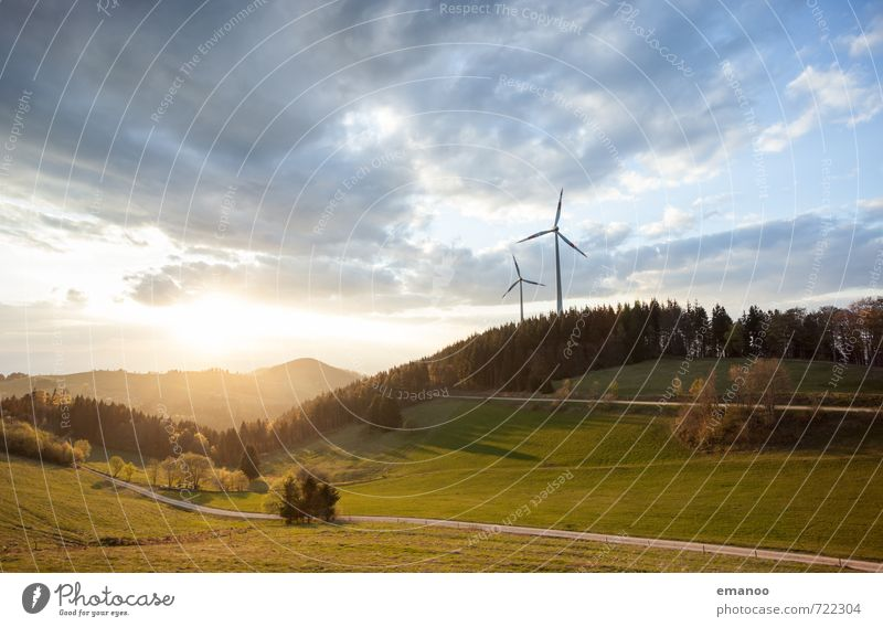 Wind and sun Far-off places Freedom Mountain Energy industry Renewable energy Solar Power Wind energy plant Energy crisis Environment Nature Landscape Sky