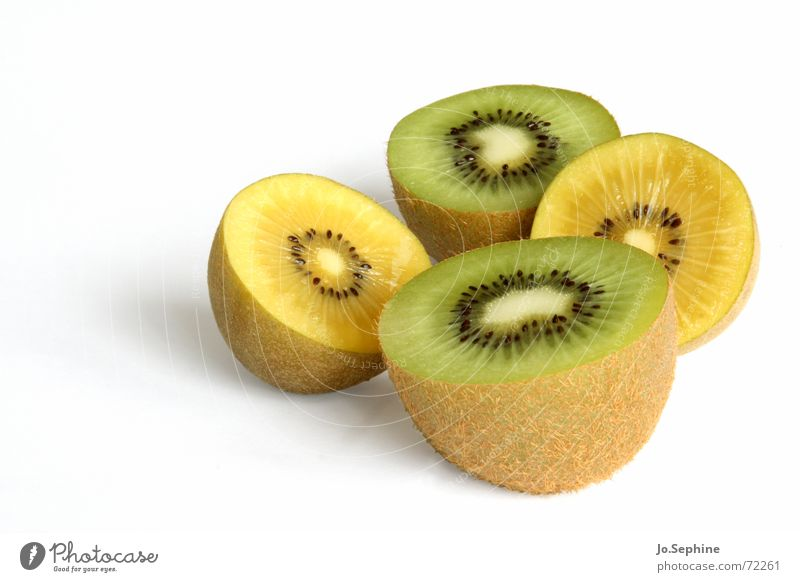 Kiwi II Food fruit Nutrition Diet Healthy Wellness Summer Fresh Kiwifruit Fruit flesh Division Refreshment 4 green Yellow Kernels & Pits & Stones