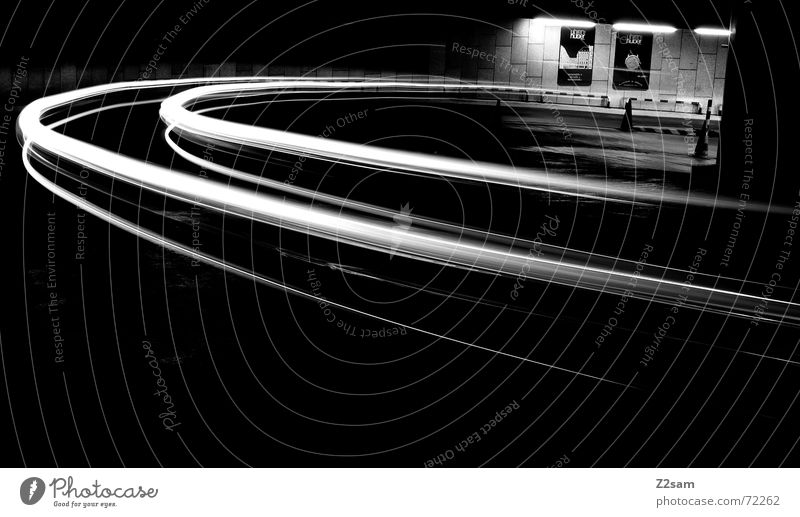 downward b/w II Light Stripe Downward Under Long exposure Underground garage Transport Driving Hut Arch Circle Movement Dynamics Street Curve