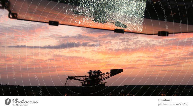 ferropolis Excavator Mirror Sunset Lamp Back-light Clouds Mining reflection Sky melt Silhouette