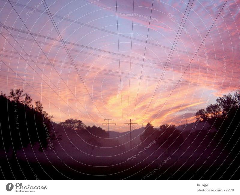 rubor et caeruleus decet... nubes iterum Multicoloured Morning Dawn Light Sunrise Sunset Joy Beautiful Relaxation Calm Far-off places Cable Air Sky Clouds
