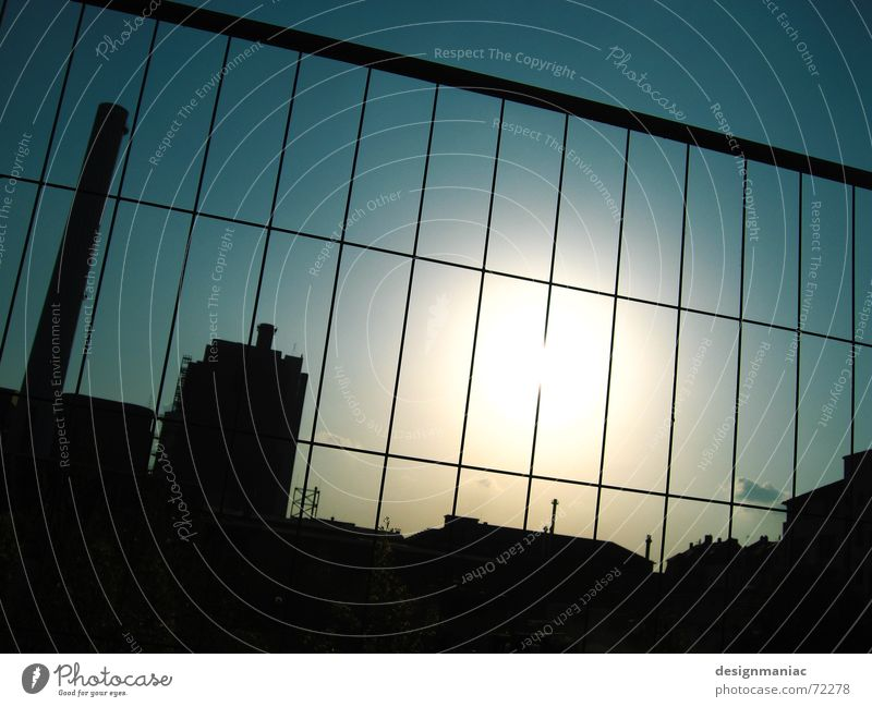 factory site Factory Silhouette Roof Fence Square Rectangle Dark Light Black Frankfurt Europe Captured Cramped Exterior shot Construction site Back-light Dazzle