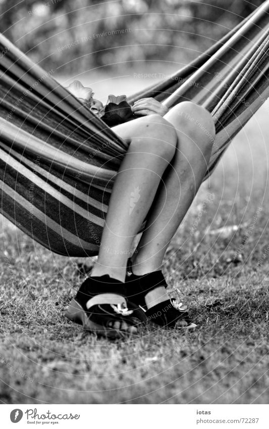 small legs Child Girl Break Relaxation Hammock Summer Leisure and hobbies Calm Footwear Stripe Meadow Joy Legs Feet Shadow Black & white photo B/W B&W Garden