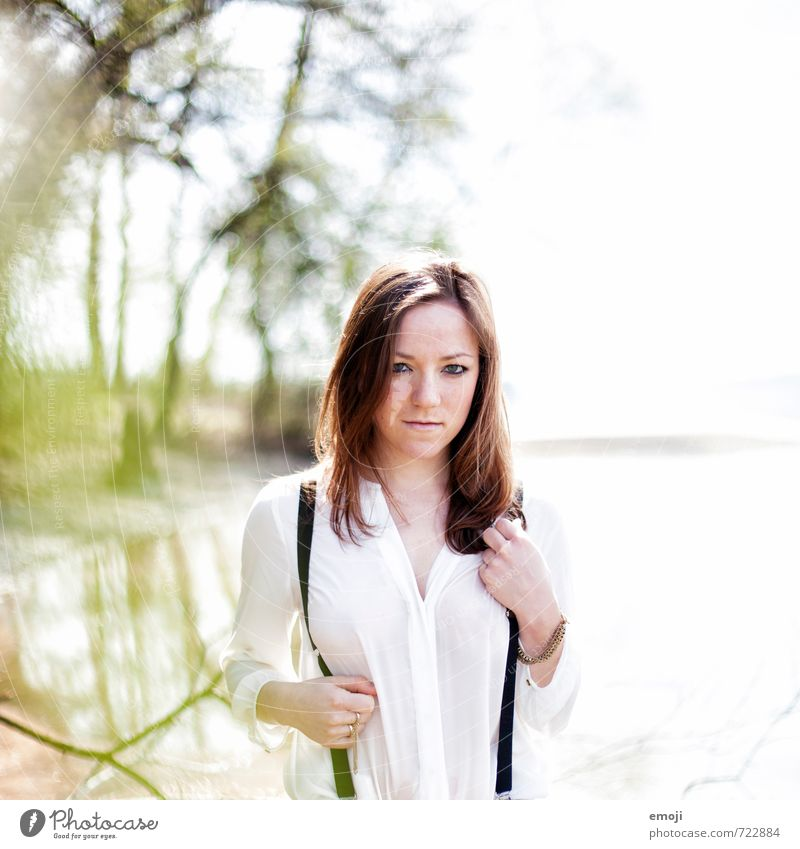 In the lake Feminine Young woman Youth (Young adults) 1 Human being 18 - 30 years Adults Blouse Suspenders Brunette Eroticism Colour photo Exterior shot Day