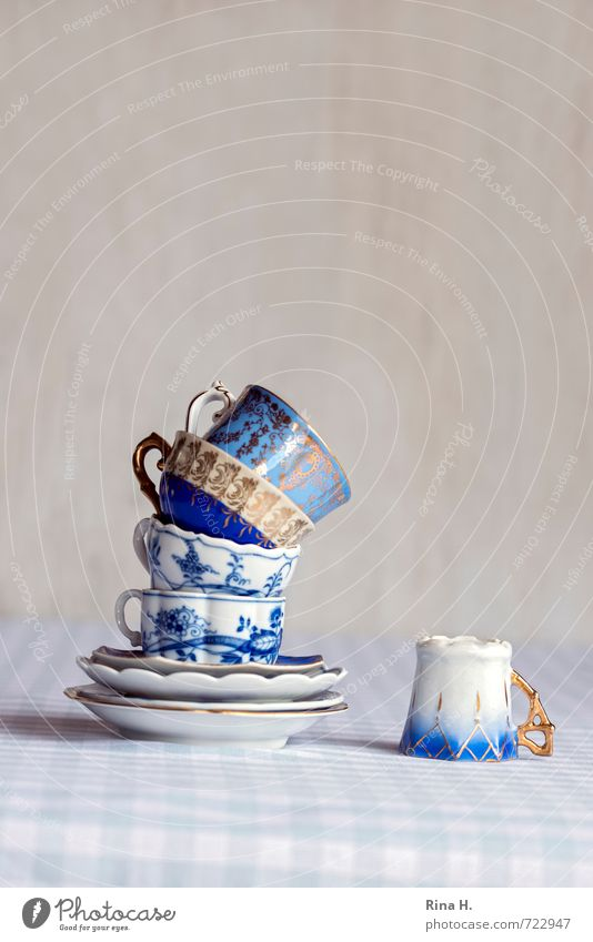 slanting position Crockery Cup To fall Blue White mocha cups Tower Stack Fallen Crazy Tilt tablecloth Checkered Vintage Playing Curlicue Porcelain Still Life