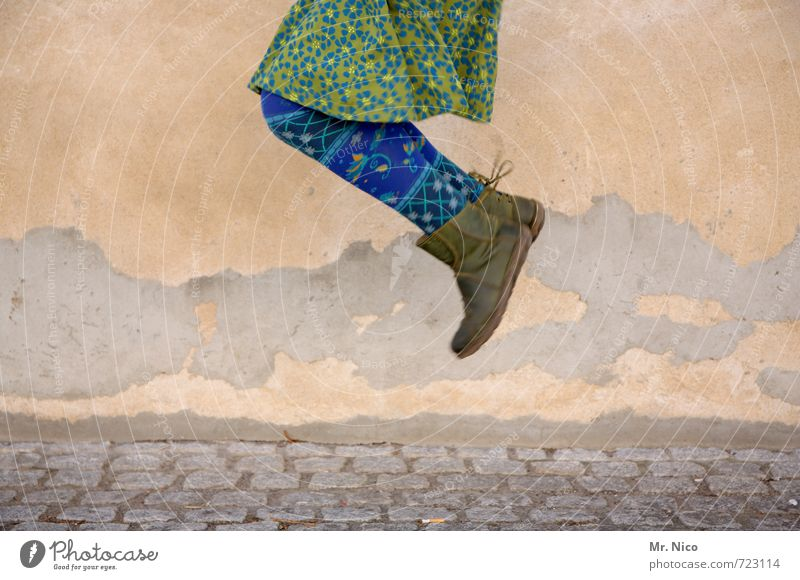 Human being Woman Blue Green Joy Adults Feminine Movement Building Happy Legs Jump Fashion Facade Lifestyle Contentment