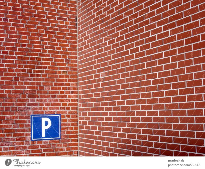 Blue Red Wall (building) Happy Wall (barrier) Style Park Signs and labeling Transport Search Corner Gloomy To hold on Brick Stone Parking