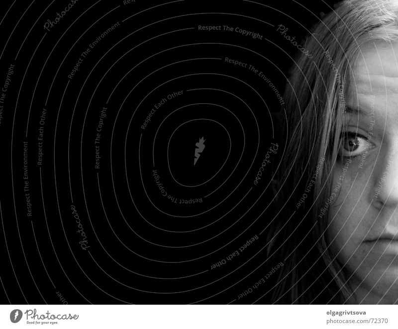 A deep emptiness Black Deep Woman Feminine Furrowed brow Empty a deep void half face Human being Head Black & white photo Meaningless ignorant Recklessness