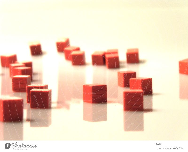 wooden cubes Red Light Reflection White Sharp-edged Side by side Futile Art Style Macro (Extreme close-up) Close-up Shadow depth blur Cube Structures and shapes