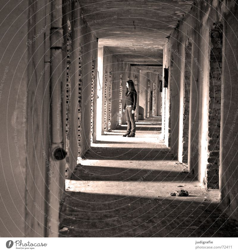 A girl in the hallway Possible Tunnel Light Hallway House (Residential Structure) Building Dismantling Ruin Hotel Gernrode Brick Wall (building) Entrance