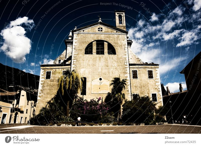 God house Deities Sky Lake Garda Italy Dark Threat Large Catholicism Palm tree Religion and faith church god Arco Old Tower