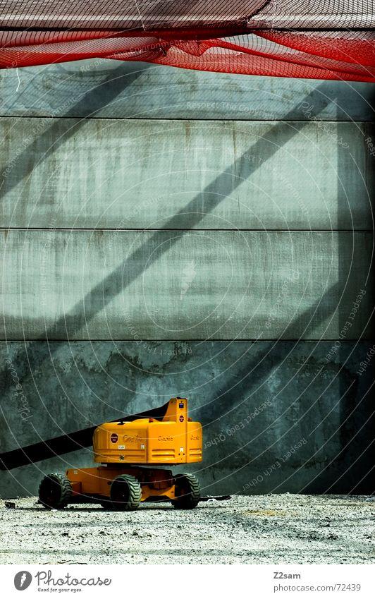 Red Yellow Net Construction site Vehicle Gravel Excavator Beam of light