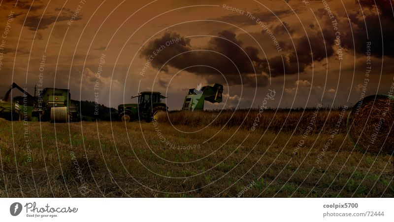 Meadow Landscape Field Rock Grain Agriculture Harvest Machinery Wheat Tractor Oats Combine