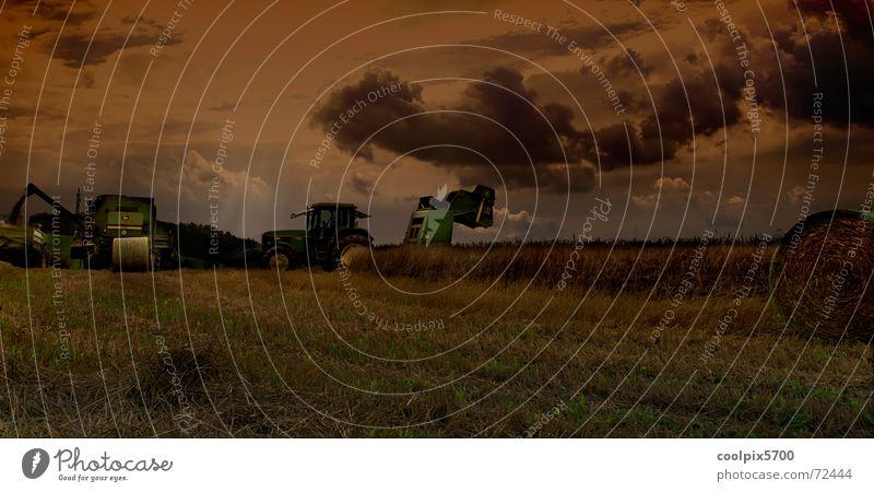 Meadow Landscape Field Rock Grain Agriculture Harvest Machinery Wheat Tractor Oats Combine