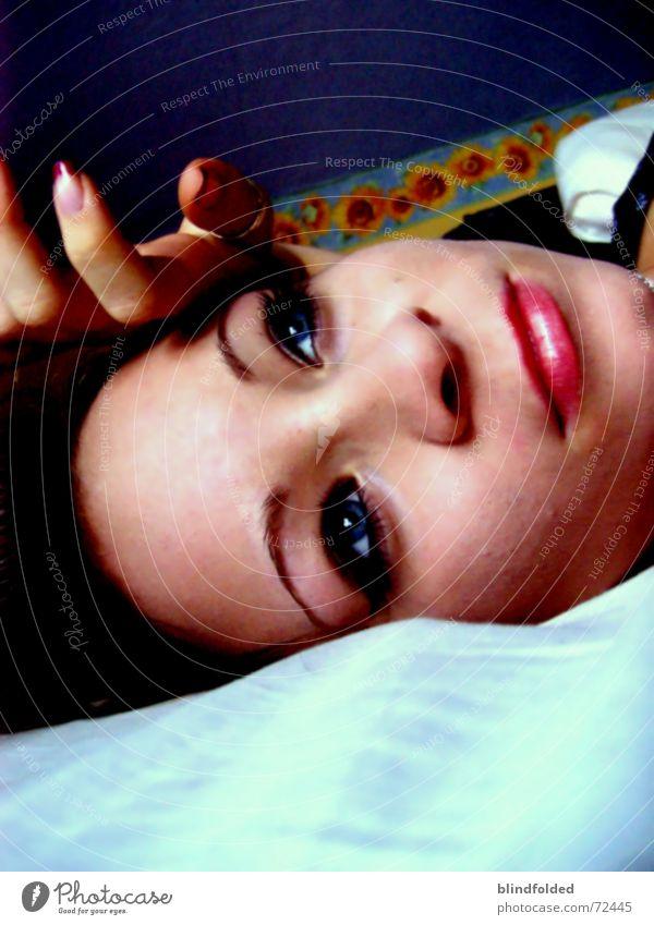 Blue Calm Eyes Happy Dream Mouth Contentment Harmonious Dreamily Blemish