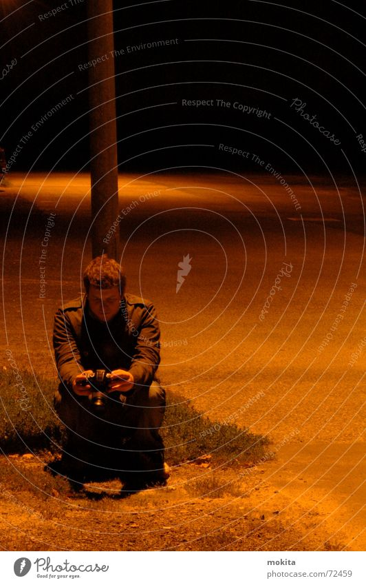 at night Night Places Dark Lantern Man Human being Camera Sit