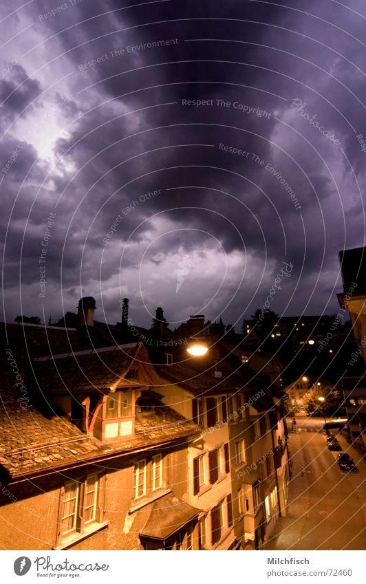 City Clouds Street Dark Thunder and lightning Street lighting Impressive Comfortless Housefront Apocalyptic sentiment