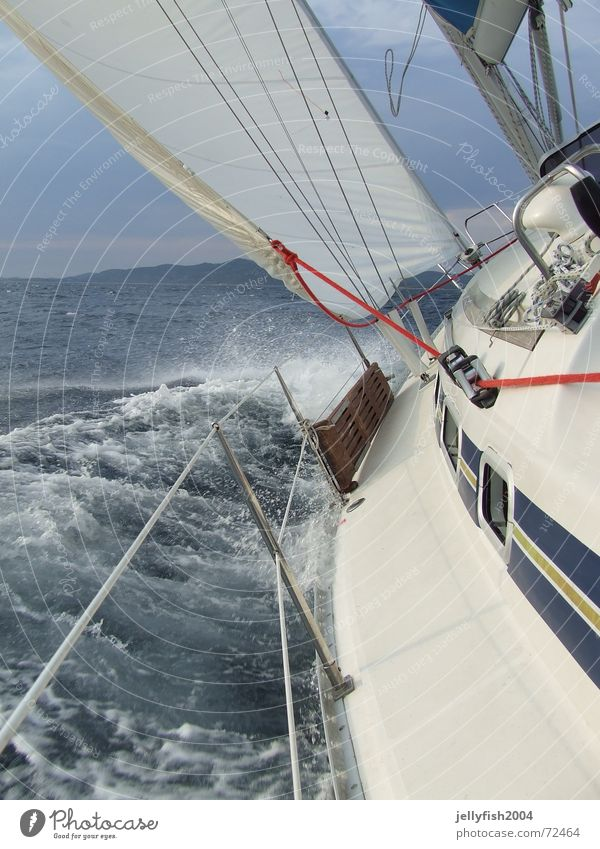 Sail Action Sailing Watercraft Croatia Waves White crest Gale Lake Handbook Red elan 381 Wind vodicel Sewing thread