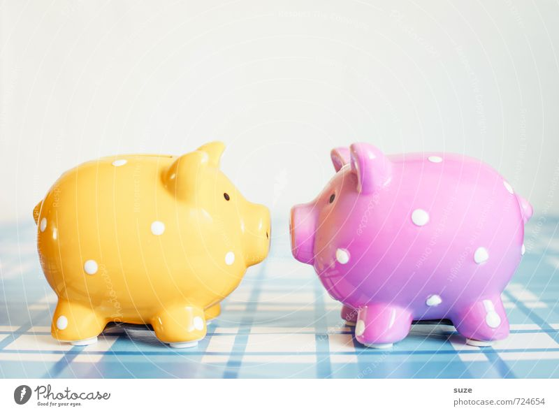 Don't give me that look! Lifestyle Shopping Design Happy Money Save Decoration Financial Industry Plastic Poverty Kitsch Small Funny Cute Rich Blue Yellow Pink