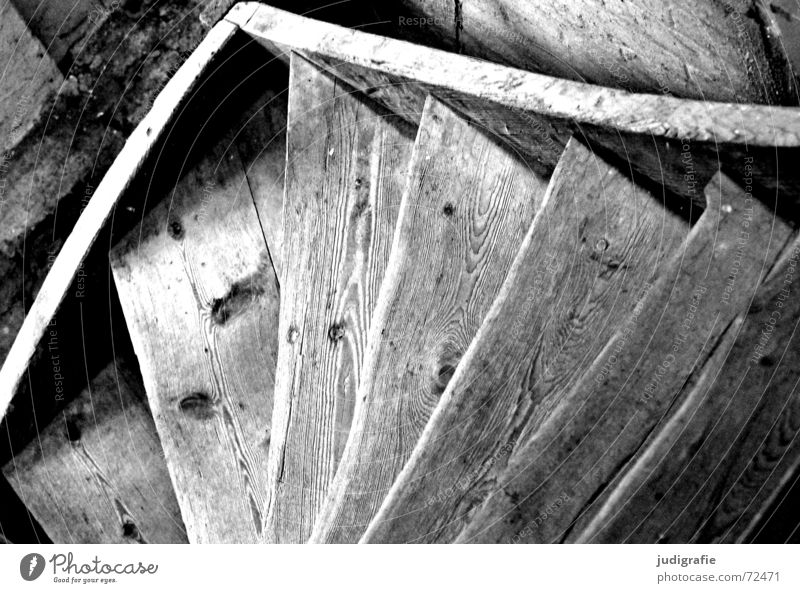 descent Wood Derelict Downward Black White Detail Black & white photo Stairs Old Structures and shapes Upward Above Tall