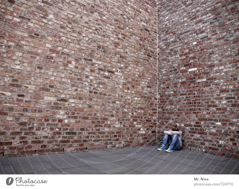 Bad Day Feminine Girl 1 Human being Manmade structures Building Architecture Wall (barrier) Wall (building) Facade Sit Cry Sadness Concern Disappointment