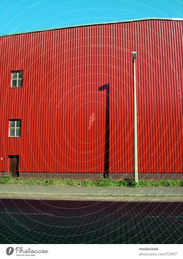 LACK OF GREEN | warehouse hall architecture waiting colors brightly colored Red Wall (building) Wall (barrier) Window Lantern Gaudy Multicoloured Meadow Grass