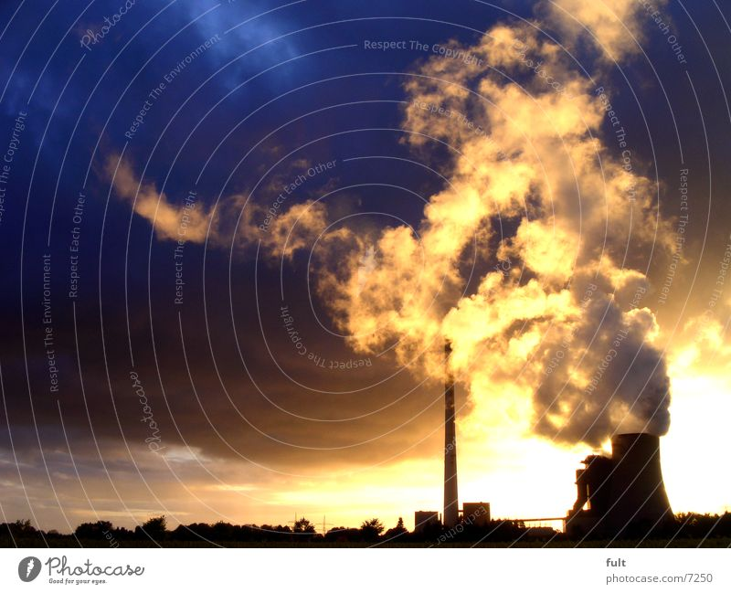 power plant Steam Clouds Rain Silhouette Horizon Still Life Coal power station Extreme Concrete Building Industry Electricity generating station Chimney Sky