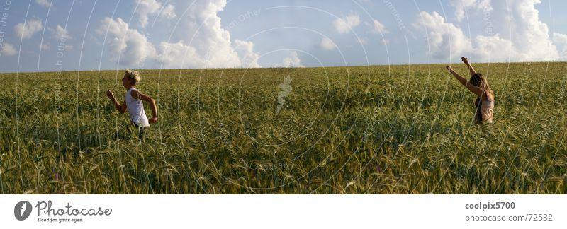 Nature Playing Friendship Walking Running Catch Harvest Cornfield Human being Field